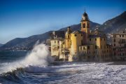 Waves on the Ligurian coast at Camogli