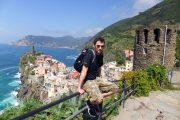 Hiking in the Cinque Terre, view over Vernazza