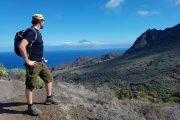 Hiking on La Gomera with a view across the sea to Tenerife