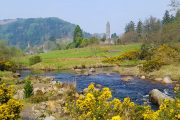 The round tower of Glendalough on the Wicklow Way