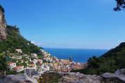 View over Amalfi and the Mediterranean from the Valle delle Ferriere