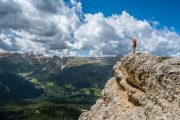 Hiking with a view over the valley, Val Badia in the Dolomites