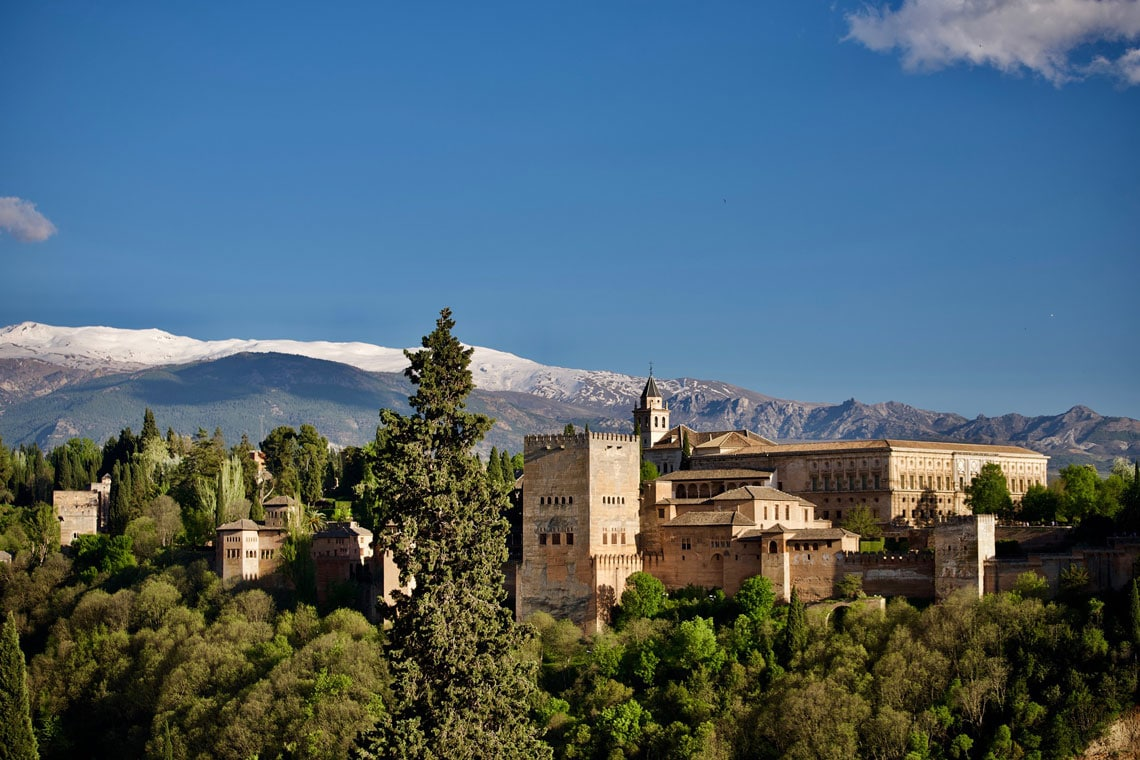 The Alhambra in Granada and Sierra Nevada Mountains