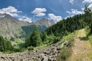Scenic hiking trail in the Aosta Valley
