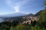 View of Taormina and Mount Etna on Sicily