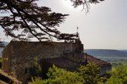 Bonnieux church and Luberon landscape