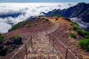 Hiking path above the clouds at Pico Ruivo