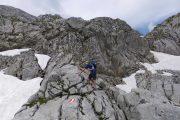 Crossing the rocky plateau towards the Guttenberg lodge