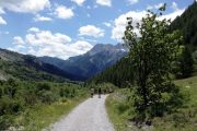 Hiking on a scenic path through the Maira Valley
