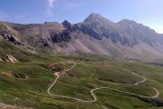 Winding mountain path in the Maira Valley