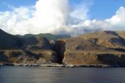 View of the Samaria Gorge from the sea on the south coast of Crete