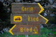 Hiking signposts toward Lake Bled, Slovenia