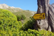 Hiking signpost on Hydra island