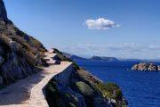 Coastal walking path on Hydra island