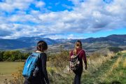 Hiking on the Camino del Norte through the mountainous back country of the Basque region.