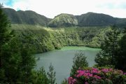 Crater lake on Sao Miguel island in the Azores