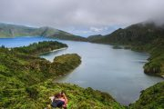 Hikers at Lagoa do Fogo, Sao Miguel island in the Azores