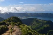 Hikers at Sete Cidades on Sao Miguel island in the Azores