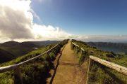 Walking path at the Sete Cidades lakes on Sao Miguel island