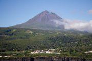 Pico volcano and village in the Azores