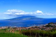 View over Horta to Pico Island, Azores