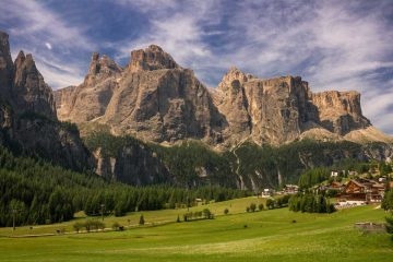 View of the Sella group in the Dolomites, Val Badia