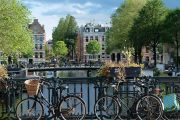 Bicycles and canal, Amsterdam