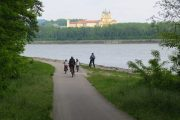 View of Melk Abbey from the Danube cycle path GT1976