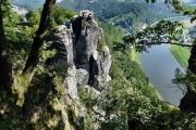 The Bastei cliffs and Elbe river