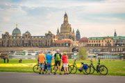 The beautiful skyline of Dresden across the Elbe