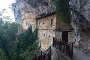 Cliffside monastery on the Menalon Trail