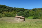 The chapel of Santa Margarida, located in the middle of an ancient volcanic crater