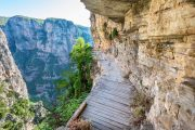 Cliffside walking path in the Vikos Gorge