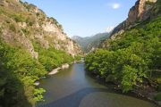 View over the Voidomatis River from stone bridge