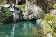 the 600-year old Blagaj Tekke monastery at the source of the Buna river