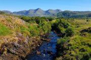 Caragh River nær Glencar med bjerge i baggrunden