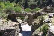 Vandring over en træbro i Samaria-kløften