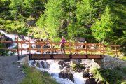Udsigten nydes fra en bro over et vandfald på Tour du Mont Blanc