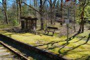 Skaaningbro station med det særlige læskur, der er bygget som en løvklædt hytte. Hytten er bevaret og vedligeholdes.